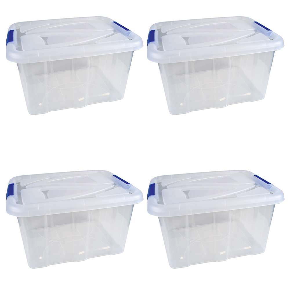 4er set stapelboxen 30 liter aufbewahrungskisten mit deckel aufbewahrung vorrat haushalt. Black Bedroom Furniture Sets. Home Design Ideas