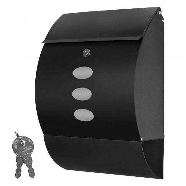 Grafner® Edelstahl Briefkasten Schwarz mit Zeitungsrolle und 3 Sichtfenstern Postkasten