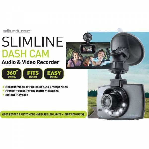 Soundlogic Slimline Full HD Dashcam 360° mit IR-Beleuchtung Digitale Kfz Videokamera
