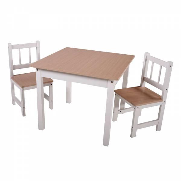 Kindertischgruppe VISBY weiß/natur 1 Tisch & 2 Stühle 303891