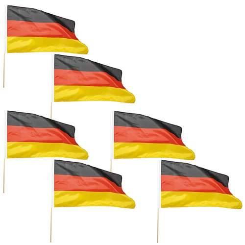 6er Set Flaggen mit Holzstab 30 x 45 cm Deutschlandfahnen