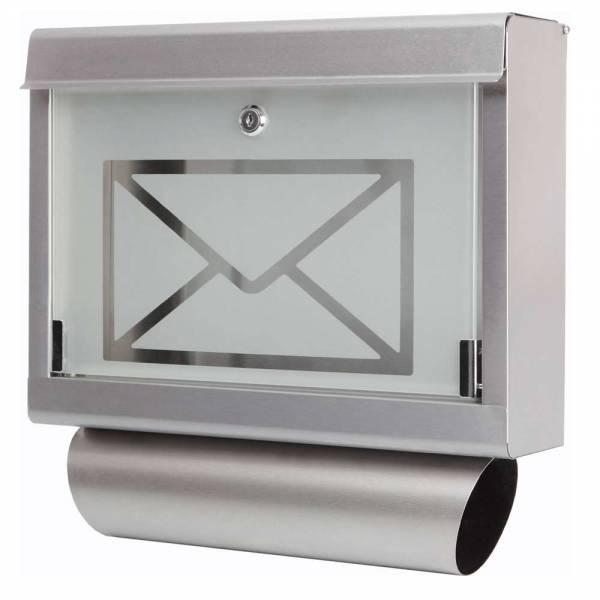 Grafner Briefkasten mit Zeitungsrolle aus Edelstahl und Glas Motiv Briefumschlag