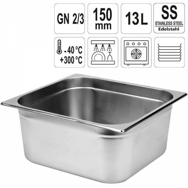 YATO Gastronorm Behälter Edelstahl 2/3 150mm