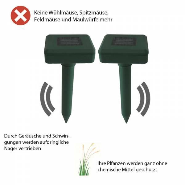 2 Solar Maulwurfschreck Maulwurf Vertreiber grün