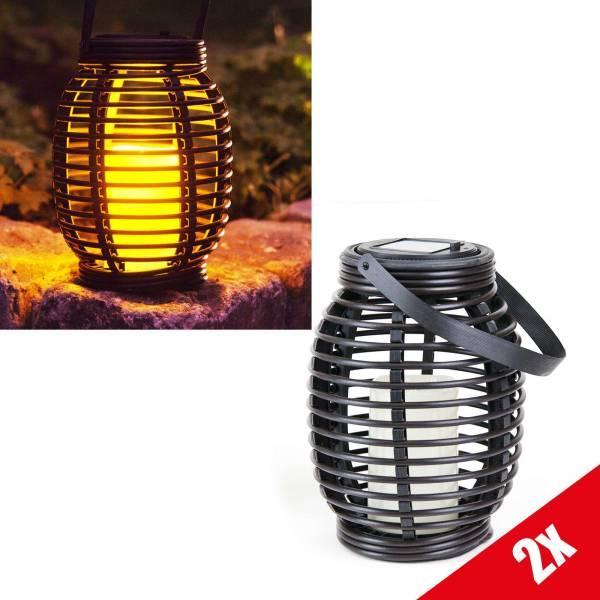 2er Set Grafner® LED Solar Laterne mit Kerze 20cm Außen Windlicht oval zum hängen