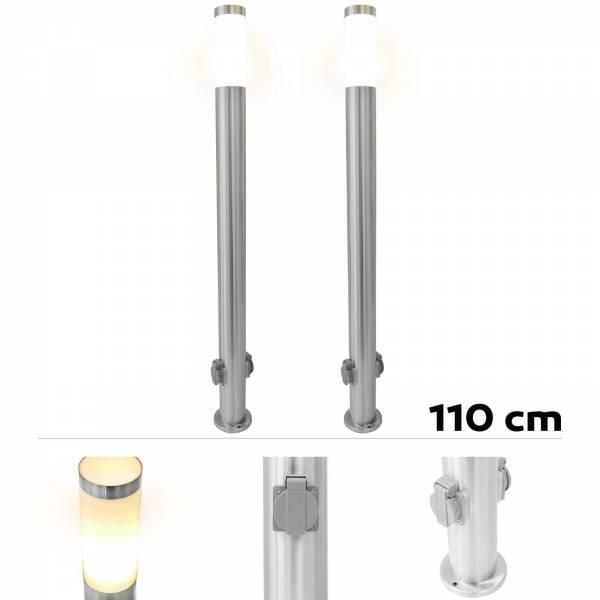 2er Set Grafner® Edelstahl Wegleuchte mit 2 Außensteckdosen Gartenlampe 110 cm
