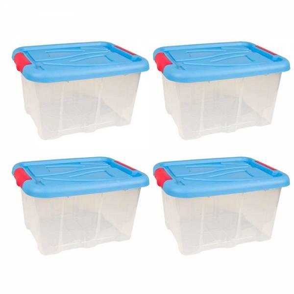 4er Set Stapelbox Barcelona 30 Liter mit Deckel blau stapelbar