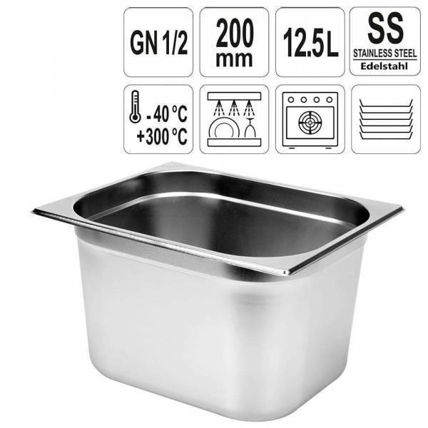 YATO Gastronorm Behälter Edelstahl 1/2 200mm