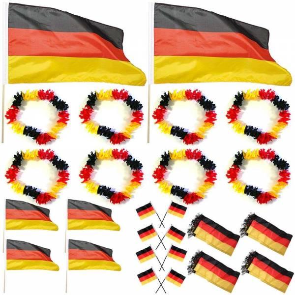 26 teiliges Fan WM Set Stabflaggen Hawaiikette Fanschal Deutschland