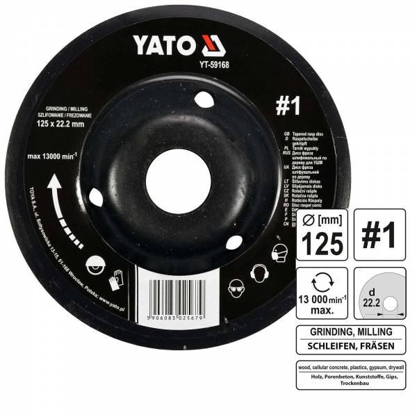 YATO Profi Raspelscheibe für Winkelschleifer 125mm Nr1 Konvex