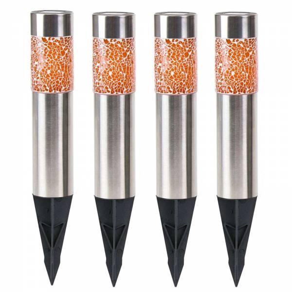 4er Set Grafner® LED Solar Edelstahl Säulenleuchte im modernen Mosaik Design 38cm