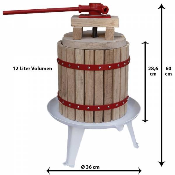 Grafner® Obstpresse 12 Liter Füllkorb aus amerikanischer Eiche mit 1 Presstuch Saftpresse Weinpresse