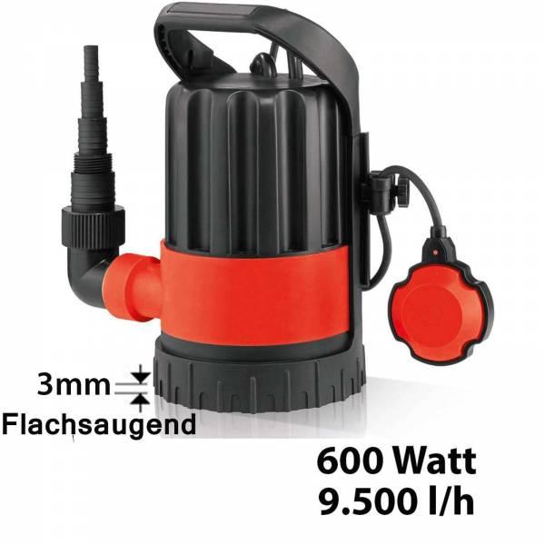 Grafner® Klarwasserpumpe Flachsaugerpumpe 600 Watt 9500 l/h Tauchpumpe Poolpumpe Entwässerungspumpe
