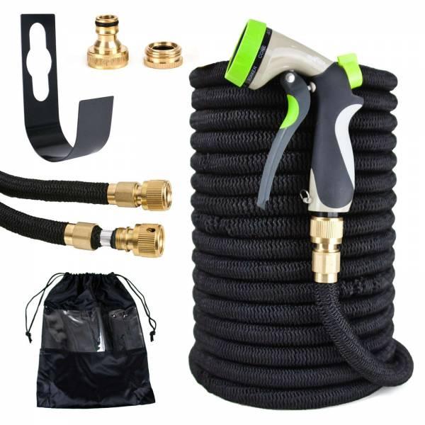 Grafner® Premium Flexibler Gartenschlauch 30m schwarz Messing Anschlüsse + Brause und Wandhalter