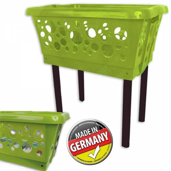 Wäschekorb mit Beinen Grün klappbar und stapelbar
