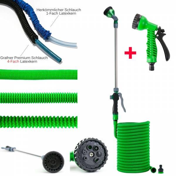 Grafner® Premium Flexibler Gartenschlauch 30m inkl. Gießstab und Handbrause