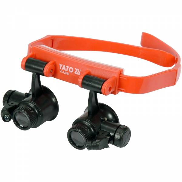 YATO Profi Kopfband-Lupenbrille mit Beleuchtung   Binokular   10x/15x/20x/25x   YT-73840