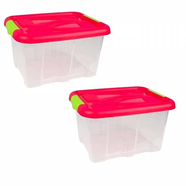 2er Set Stapelbox Barcelona 30 Liter mit Deckel pink stapelbar