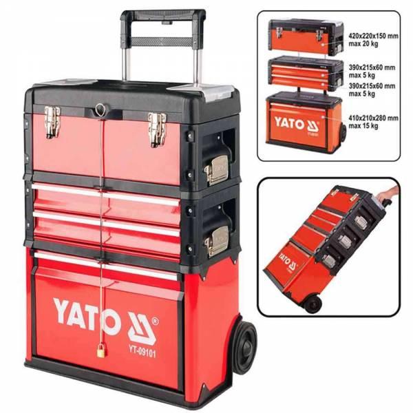 YATO Profi Werkzeugtrolley mit 3 Modulen YT-09101 Werkzeugkasten mobiler Werkzeugkoffer