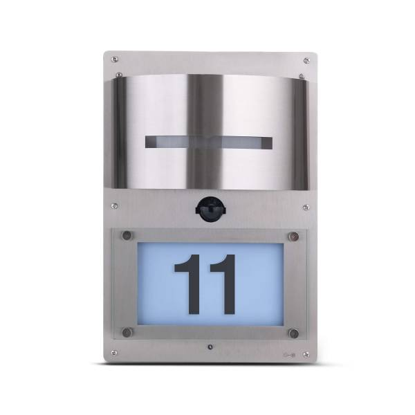 Grafner® Edelstahl Wandlampe mit Bewegungsmelder und Hausnummernbeleuchtung 88HN Leuchte