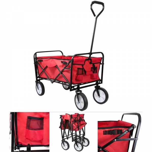 Grafner® Faltbarer Bollerwagen rot Handwagen Klappbar