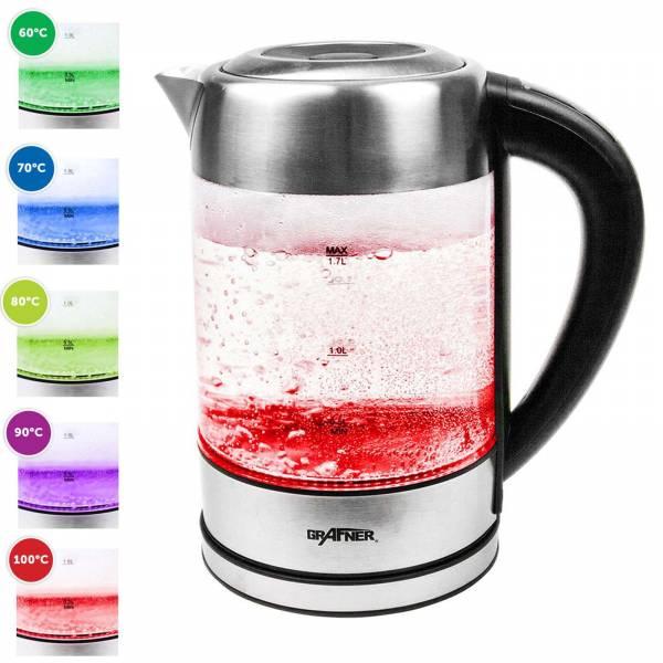 Grafner® Digitaler Glas Wasserkocher mit Dechlorierfunktion, Temperaturwahl, Warmhaltefunktion, RGB