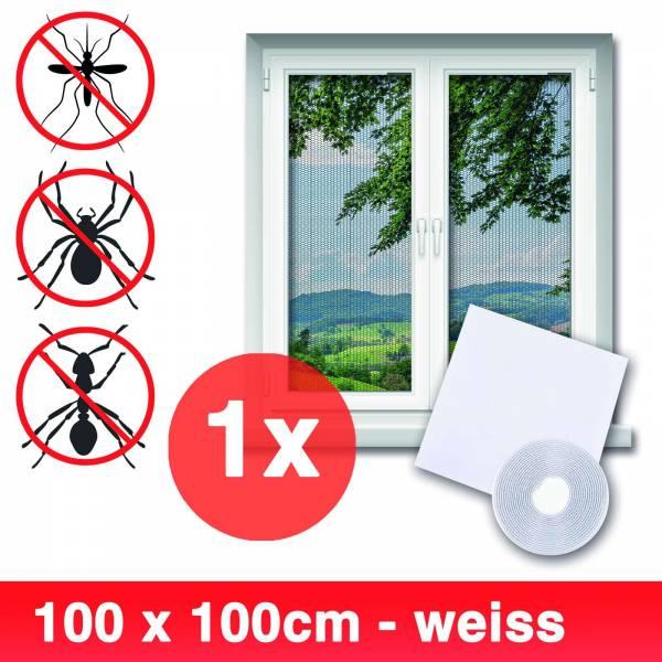 Grafner® Insektenschutz Fliegengitter Fenster 100x100cm mit Klettband IS10906 weiß