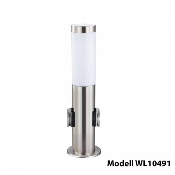 Grafner Edelstahl Wegleuchte mit 2 Außensteckdosen Gartenlampe 45 cm