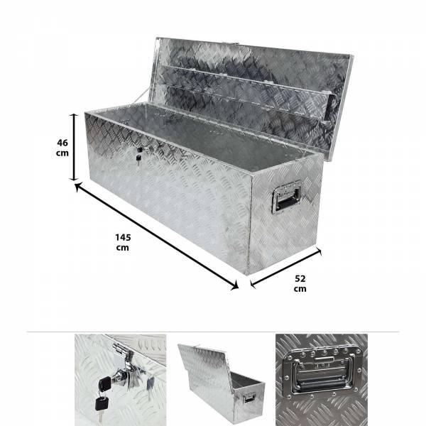 Grafner® Werkzeugkasten Alu Transportbox 145 cm x 52 cm x 46 cm