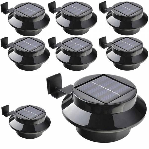 8er Set Grafner® Solar LED Dachrinnenleuchten in schwarz Dachrinnenbeleuchtung