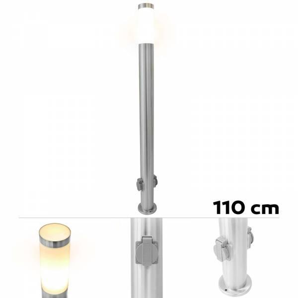 Grafner® Edelstahl Wegleuchte mit 2 Außensteckdosen Gartenlampe 110cm
