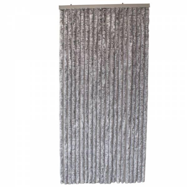 Flauschvorhang 90x200 cm Fliegenvorhang in grau/weiß