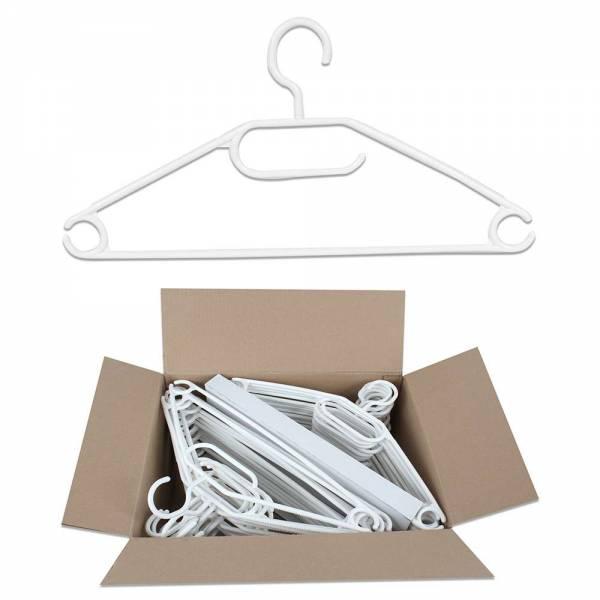 Kleiderbügel aus Kunststoff in weiss im Vorteilspack