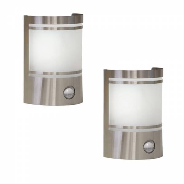 2er Set Grafner Edelstahl Wandlampen mit Bewegungsmelder 153SQE27PIR WL10197 (2x 14506)