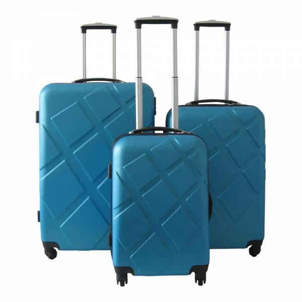 Reisekoffer-Set 3tlg mit digitaler Waage blau