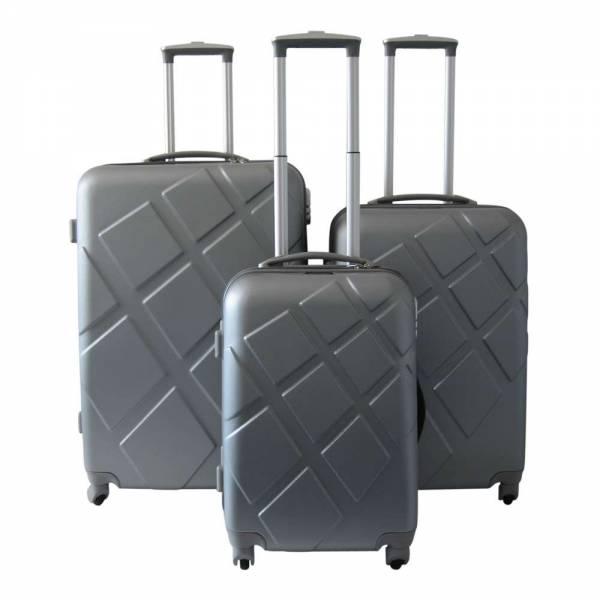 Reisekoffer-Set 3tlg mit digitaler Waage silber