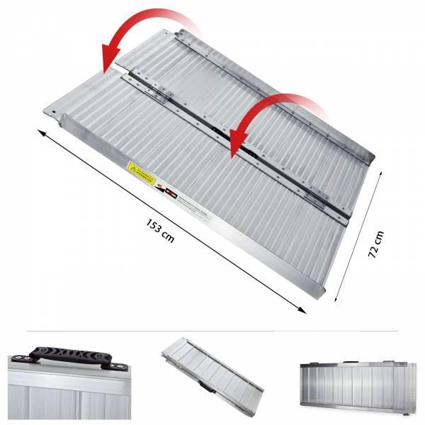 Grafner® Auffahrrampe aus Aluminium für Rollstühle klappbar AR10767 153 cm x 72 cm