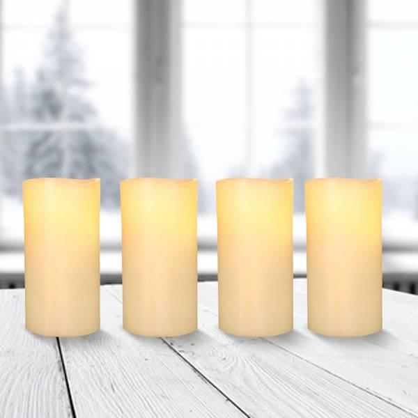 4x LED Kerzen Adventskranz Echtwachskerzen mit Ausblasfunktion Ø 7,5cm Höhe 15cm