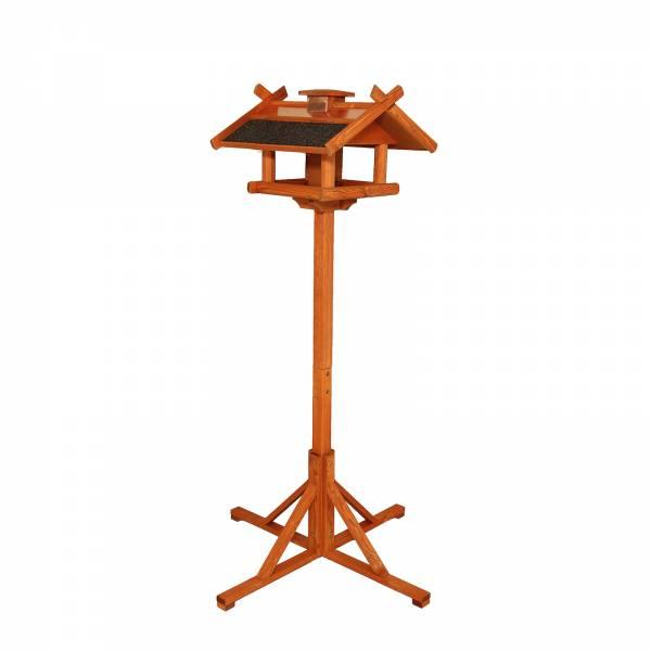Vogelfutterhaus mit Kupferdach Standfuß und Futtersilo