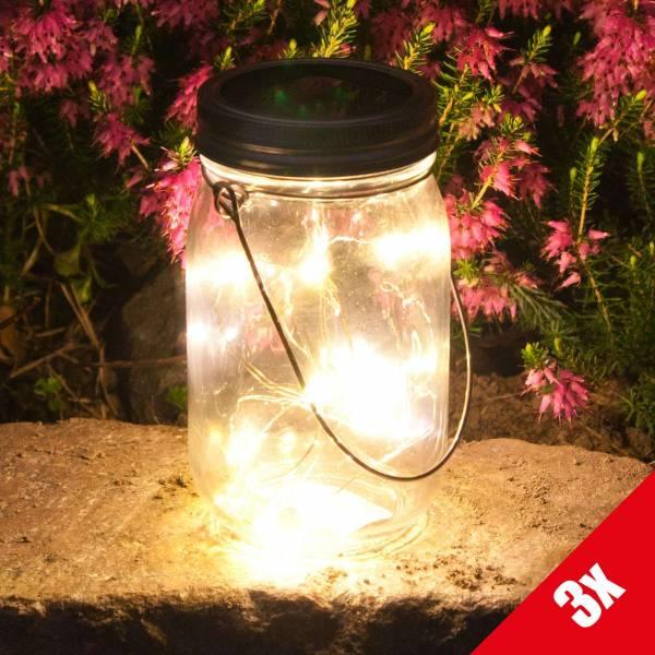 3er Set Grafner® LED Solarleuchte im Einmachglas mit 10 Micro Lichterkette Solarlaterne 13,5cm