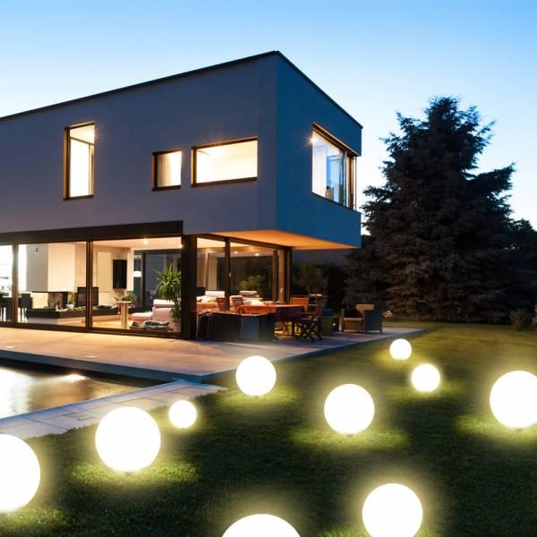 4er Set Grafner® LED Solar Kugeln Ø20cm Ø30cm Ø40cm Ø50cm Solarleuchten Kugelleuchten mit Erdspieß
