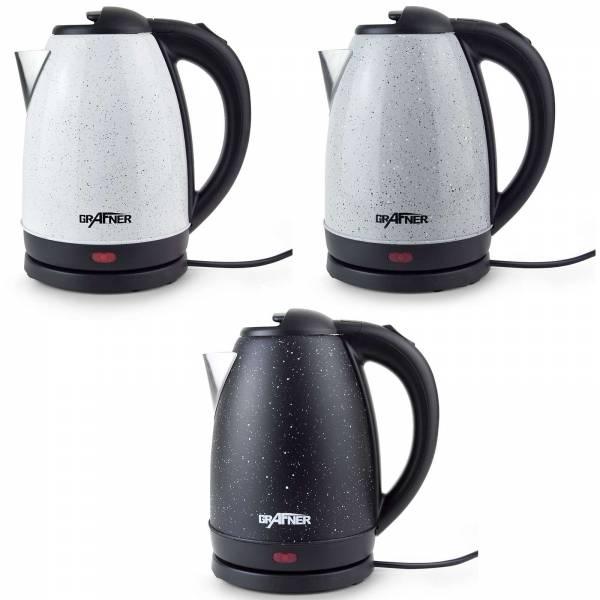 Grafner® Edelstahl Wasserkocher 1800-2200 Watt 1,7 Liter Farben: grau / weiß / schwarz Sprenkel
