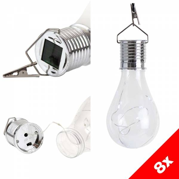 8er Vorteilspack Grafner® LED Solar Glühbirne mit Micro Lichterkette