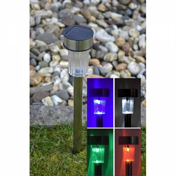 10er Set Solar LED Gartenlampe mit Farbwechsel Wegleuchte RGB Stick 22cm