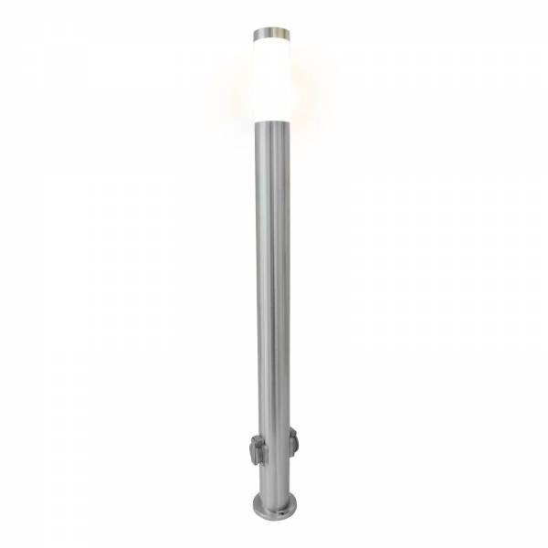 Grafner Edelstahl Wegleuchte mit 2 Außensteckdosen Gartenlampe 110 cm