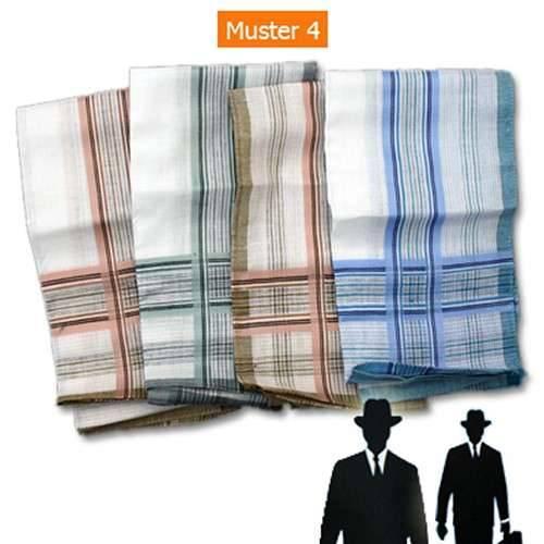Herren-Taschentücher 4Stk. 100 % Baumwolle 41x41cm Muster 4