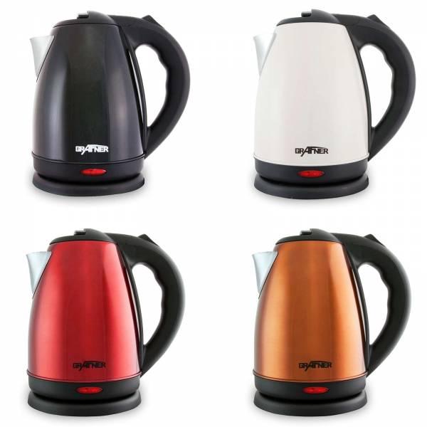 Grafner Edelstahl Wasserkocher 1800-2200 Watt 1,8 Liter Farben: rot, schwarz, kupfer, weiß/beige