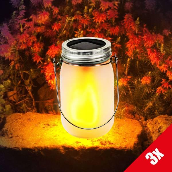 3er Set Grafner® LED Solarleuchte im Einmachglas mit 24 Micro LEDs Solarlaterne 13cm