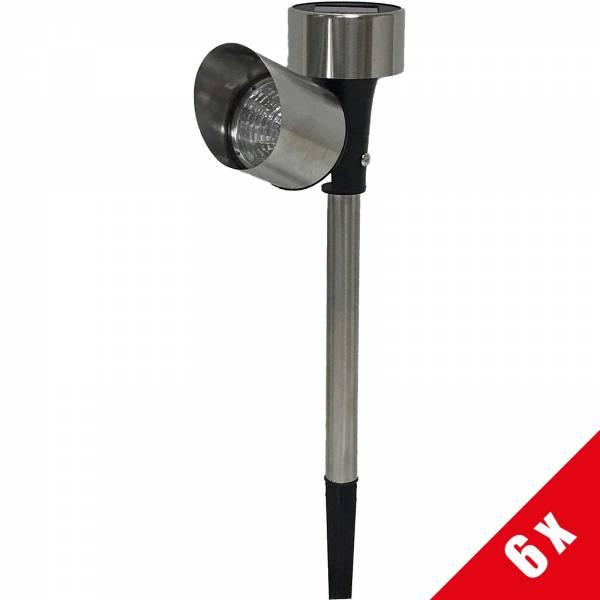 6er Set Grafner® Solar LED Pflanzenstrahler aus Edelstahl Solarstrahler mit Erdspieß 37cm