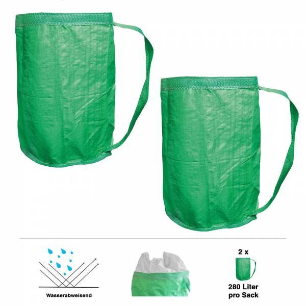 2er Grafner® Gartentasche Laubsack Umhängegurt Tragegurt grün 60x100 cm 280L